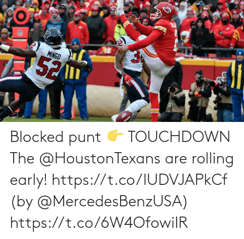 blocked: Blocked punt 👉 TOUCHDOWN  The @HoustonTexans are rolling early! https://t.co/lUDVJAPkCf (by @MercedesBenzUSA) https://t.co/6W4OfowiIR