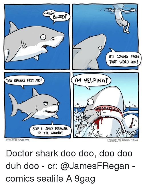 9gag, Doctor, and Memes: BLOOD!  SNIFF  IT'S COMING FROM  THAT WEIRD FSH!  THEY REQUIRE FIRST AID!  M HELPING  STEP 1: APPLY PRESSURE  To THE WOUND!  JAMES oF NO TRADES.CoM  胴回ジt @TAMES F REGAN Doctor shark doo doo, doo doo duh doo - cr: @JamesFRegan - comics sealife A 9gag