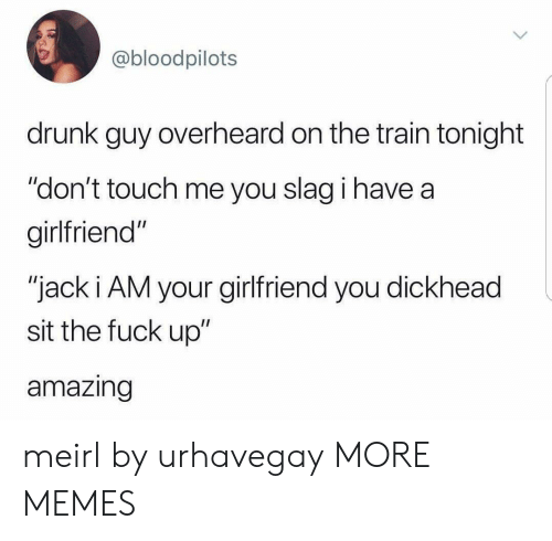 "Dank, Drunk, and Memes: @bloodpilots  drunk guy overheard on the train tonight  ""don't touch me you slag i have a  girlfriend""  ""jack i AM your girlfriend you dickhead  sit the fuck up""  amazing meirl by urhavegay MORE MEMES"