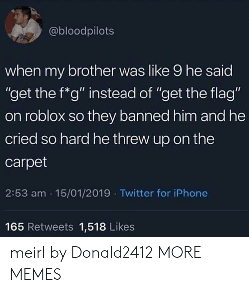 "roblox: @bloodpilots  when my brother was like 9 he said  ""get the f*g"" instead of ""get the flag""  on roblox so they banned him and he  cried so hard he threw up on the  carpet  2:53 am 15/01/2019 Twitter for iPhone  Ou  165 Retweets 1,518 Likes meirl by Donald2412 MORE MEMES"