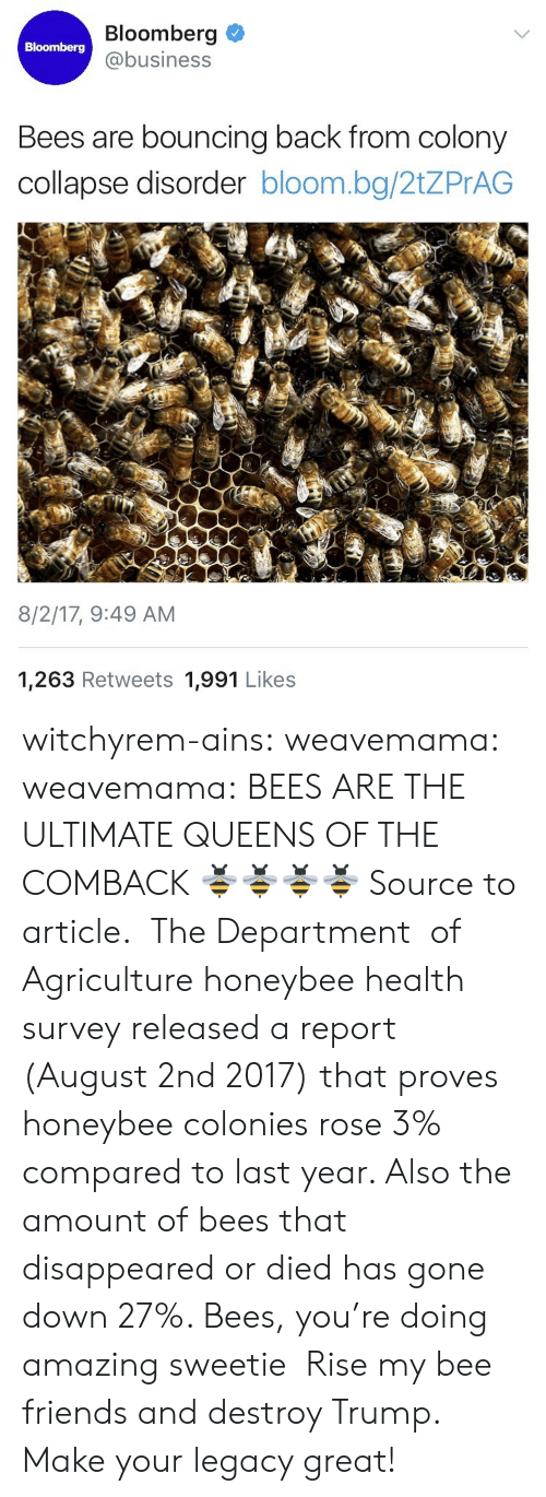 Friends, News, and Tumblr: Bloomberg  @business  Bloomberg  Bees are bouncing back from colony  collapse disorder bloom.bg/2tZPrAG  8/2/17, 9:49 AM  1,263 Retweets 1,991 Likes witchyrem-ains:  weavemama: weavemama: BEES ARE THE ULTIMATE QUEENS OF THE COMBACK 🐝🐝🐝🐝 Source to article.  The Department   of Agriculture honeybee health survey released a report (August 2nd 2017) that proves honeybee colonies rose 3% compared to last year. Also the amount of bees that disappeared or died has gone down 27%. Bees, you're doing amazing sweetie    Rise my bee friends and destroy Trump. Make your legacy great!