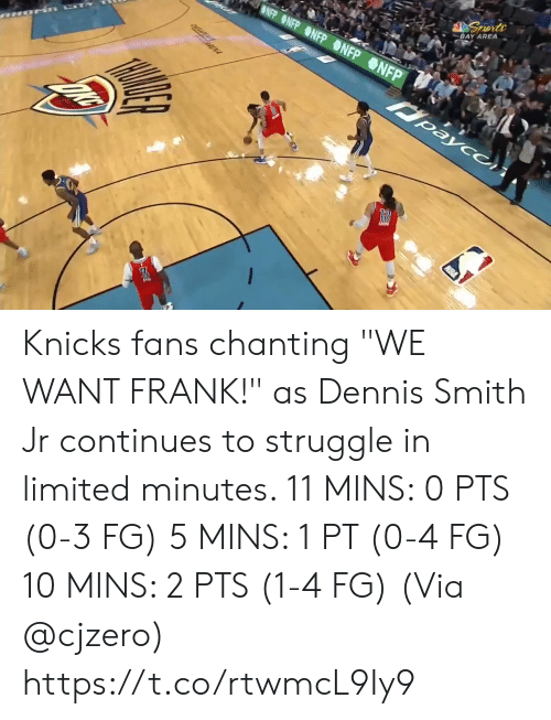 """Chanting: BLUE SEATS  KIA  MIS BUDY'S FOR YOU.  TH  FOR  BONUS  BONUS  29.6  81  76  3RD 24  AMSG  BOS  NYK  LIVE  s, 2 reb, 4 ast, 1 blk L Smith: 10 pts, 2 reb, 3 astTV  NBA SCORES  WIZARDS Knicks fans chanting """"WE WANT FRANK!"""" as Dennis Smith Jr continues to struggle in limited minutes.   11 MINS: 0 PTS (0-3 FG) 5 MINS: 1 PT (0-4 FG) 10 MINS: 2 PTS (1-4 FG)  (Via @cjzero)  https://t.co/rtwmcL9Iy9"""