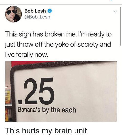 Memes, Brain, and Live: Bob Lesh  @Bob_Lesh  This sign has broken me. I'm ready to  just throw off the yoke of society and  live ferally now  25  Banana's by the each This hurts my brain unit