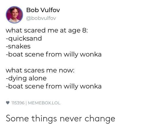 Memebox: Bob Vulfov  abobvulfov  what scared me at age 8:  quicksand  -snakes  -boat scene from willy wonka  what scares me now:  dying alone  -boat scene from willy wonka  ф 115396 | MEMEBOX.LOL Some things never change