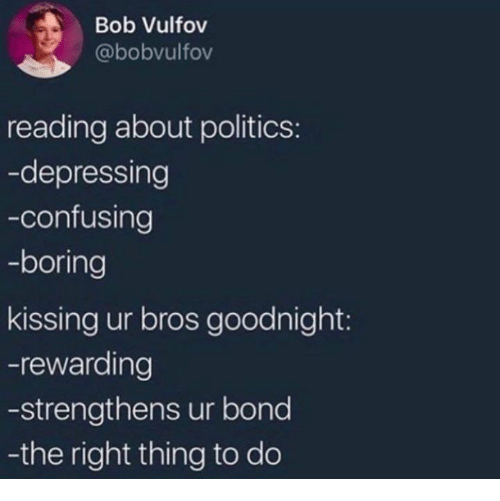Politics, Bond, and Kissinger: Bob Vulfov  @bobvulfov  reading about politics:  -depressing  -confusing  -boring  kissing ur bros goodnight:  -rewarding  -strengthens ur bond  -the right thing to do