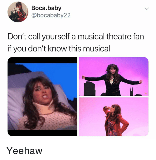 Memes, Theatre, and Baby: Boca.baby  @bocababy22  Don't call yourself a musical theatre fan  if you don't know this musical Yeehaw