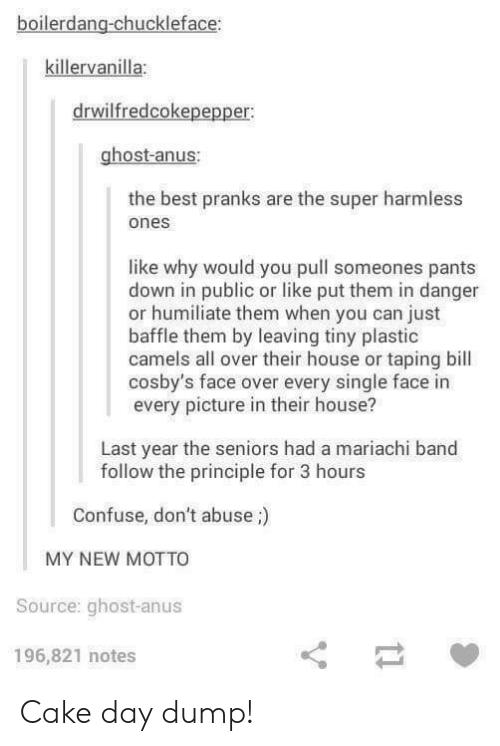 Best, Cake, and Ghost: boilerdang-chuckleface:  killervanilla:  drwilfredcokepepper  ghost-anus:  the best pranks are the super harmless  ones  like why would you pull someones pants  down in public or like put them in danger  or humiliate them when you can just  baffle them by leaving tiny plastic  camels all over their house or taping bill  cosby's face over every single face in  every picture in their house?  Last year the seniors had a mariachi band  follow the principle for 3 hours  Confuse, don't abuse;)  MY NEW MOTTO  Source: ghost-anus  196,821 notes Cake day dump!