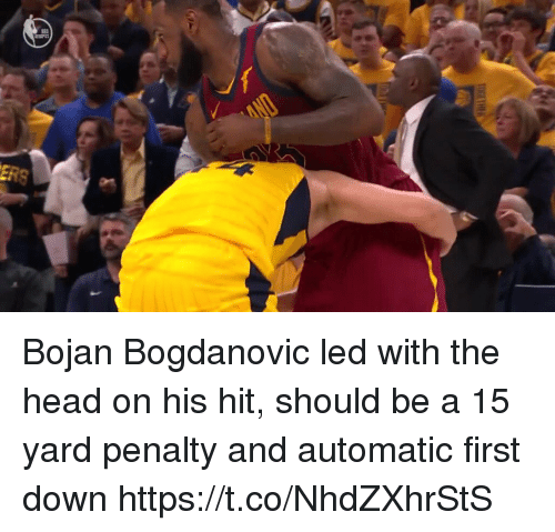 Head, Sports, and Led: Bojan Bogdanovic led with the head on his hit, should be a 15 yard penalty and automatic first down https://t.co/NhdZXhrStS