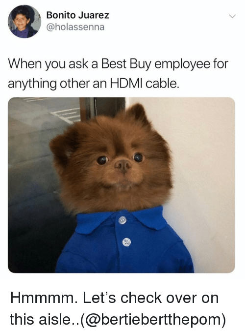 Best Buy: Bonito Juarez  @holassenna  When you ask a Best Buy employee for  anything other an HDMI cable. Hmmmm. Let's check over on this aisle..(@bertiebertthepom)