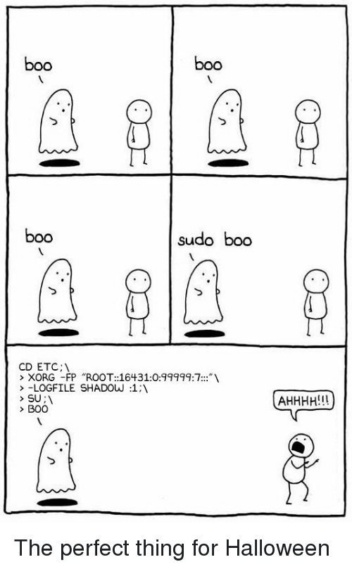 "boo boo: boo  boo  boo  sudo boo  CD ETC;  > XORG -FP ""ROOT::16431:0:99999:7:  > -LOGFILE SHADOw :1:1  SU:  BOO The perfect thing for Halloween"