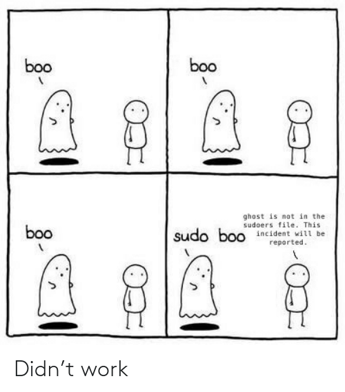 boo boo: boo  boo  ghost is not in the  sudoers file. This  incident will be  boo  sudo boo  reported. Didn't work