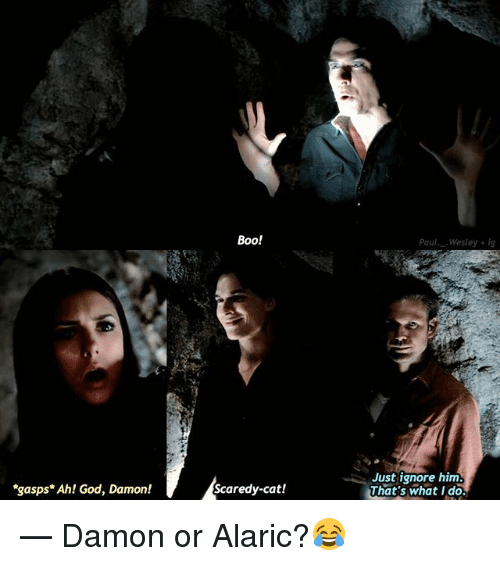 thats what i do: Boo!  Paul. Wesley ig  gasps* Ah! God, Damon!  Just ignore him  That's what I do.  Scaredy-cat! — Damon or Alaric?😂