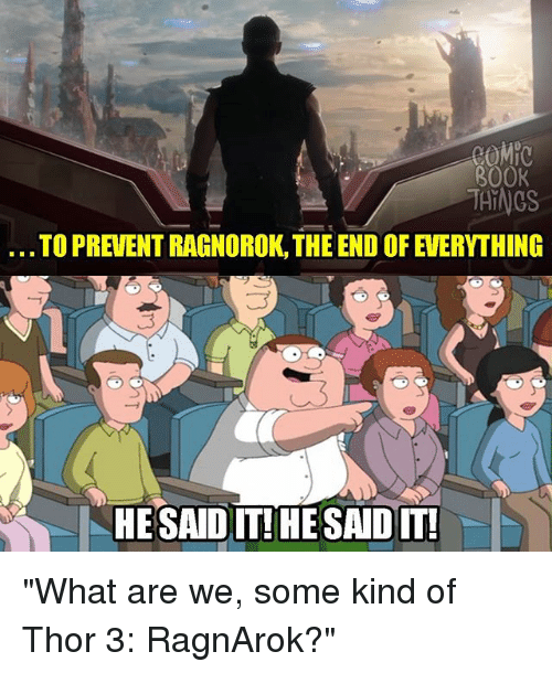 "Memes, Book, and Thor: BOOK  THINGS  TO PREVENT RAGNOROK, THE END OF EVERYTHING  HESAIDIT!HESADIT ""What are we, some kind of Thor 3: RagnArok?"""
