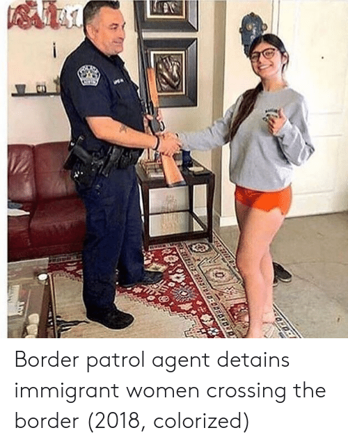 Women, Border Patrol, and Agent: Border patrol agent detains immigrant women crossing the border (2018, colorized)