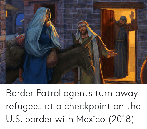 Mexico, Border Patrol, and Checkpoint: Border Patrol agents turn away refugees at a checkpoint on the U.S. border with Mexico (2018)