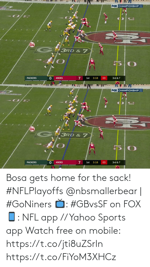 🤖: Bosa gets home for the sack! #NFLPlayoffs  @nbsmallerbear | #GoNiners  📺: #GBvsSF on FOX 📱: NFL app // Yahoo Sports app Watch free on mobile: https://t.co/jti8uZSrIn https://t.co/FiYoM3XHCz