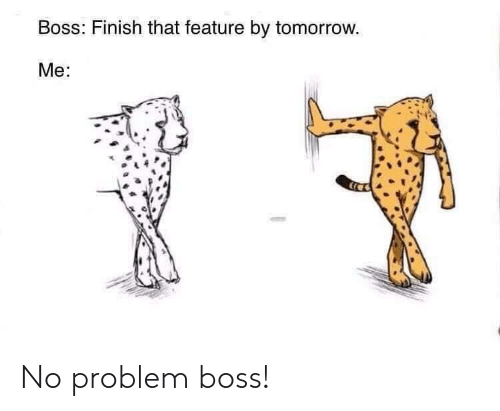 Tomorrow, Boss, and No Problem: Boss: Finish that feature by tomorrow.  Me: No problem boss!