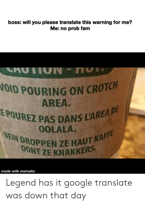 Fam, Google, and Reddit: boss: will you please translate this warning for me?  Me: no prob fam  TION  NOID POURING ON CROTCH  AREA.  EPOUREZ PAS DANS L'AREA DE  0OLALA.  NEIN DROPPEN ZE HAUT KAFFE  0ONT ZE KNAKKER  made with mematic Legend has it google translate was down that day