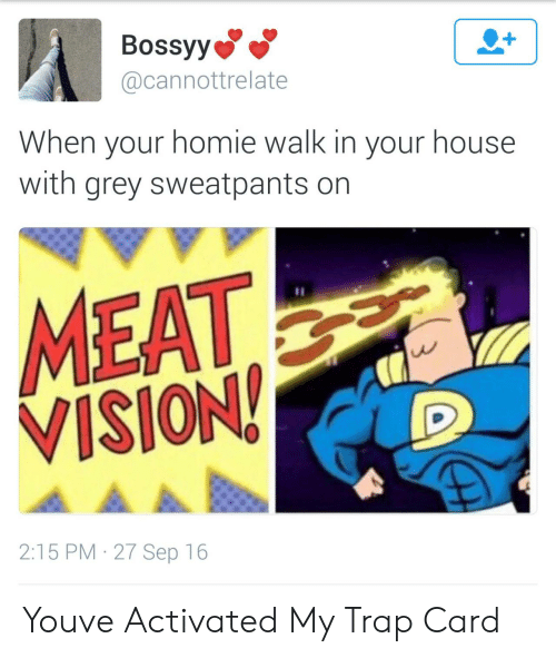 Homie, Trap, and Vision: Bossyy  @cannottrelate  When your homie walk in your house  with grey sweatpants on  MEAT  VISION  2:15 PM 27 Sep 16 Youve Activated My Trap Card