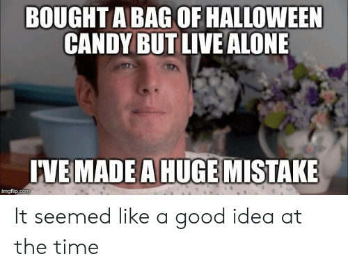 Being Alone, Candy, and Halloween: BOUGHT A BAG OF HALLOWEEN  CANDY BUT LIVE ALONE  IVE MADE A HUGE MISTAKE  imgfip.com It seemed like a good idea at the time