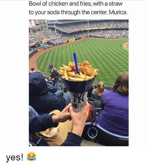 Memes, Soda, and Chicken: Bowl of chicken and fries, with a straw  to your soda through the center. Murica. yes! 😂