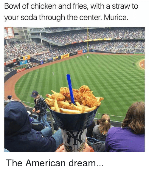 Memes, Soda, and American: Bowl of chicken and fries, with a straw to  your soda through the center. Murica. The American dream...