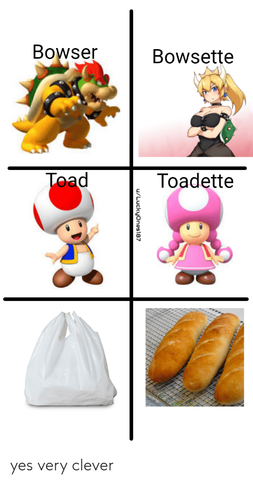 clever: Bowser  Bowsette  Toad  Toadette  u/Luckyones87 yes very clever