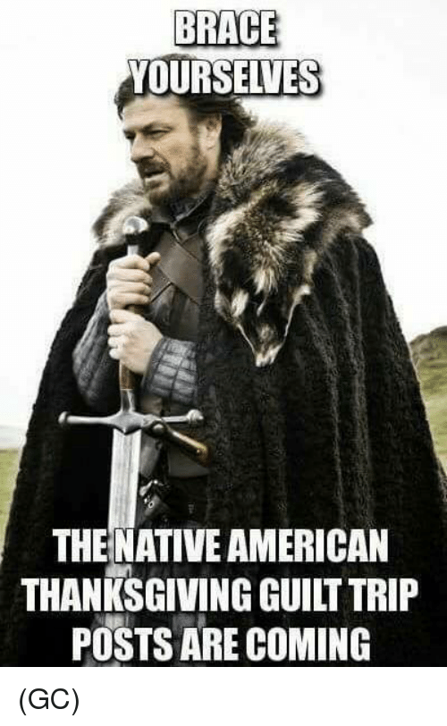 Memes, Native American, and Thanksgiving: BRACE  YOURSELVES  THE NATIVE AMERICAN  THANKSGIVING GUILT TRIP  POSTS ARE COMING (GC)