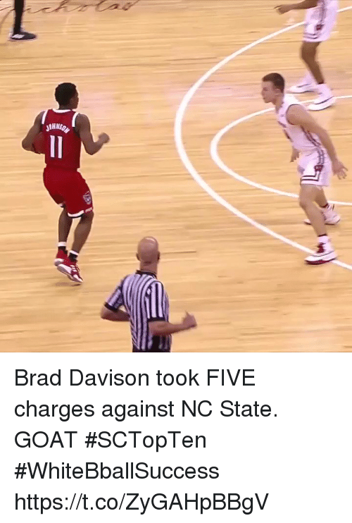 Basketball, White People, and Goat: Brad Davison took FIVE charges against NC State. GOAT #SCTopTen #WhiteBballSuccess https://t.co/ZyGAHpBBgV