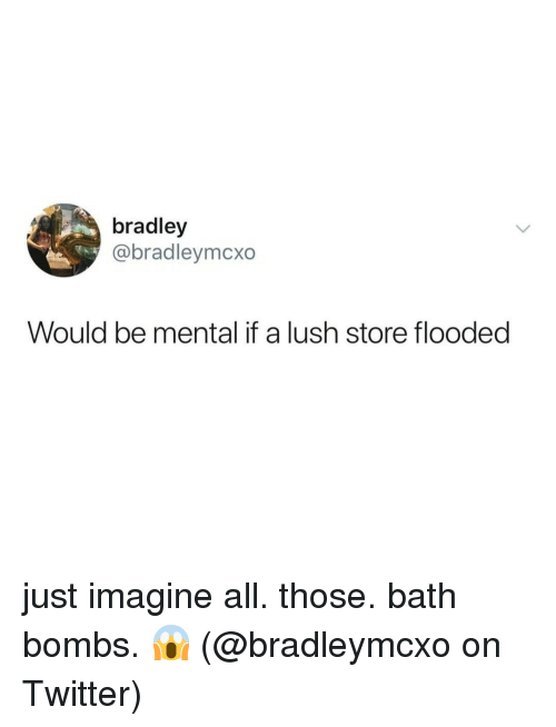 Memes, Twitter, and Lush: bradley  @bradleymcxo  Would be mental if a lush store flooded just imagine all. those. bath bombs. 😱 (@bradleymcxo on Twitter)