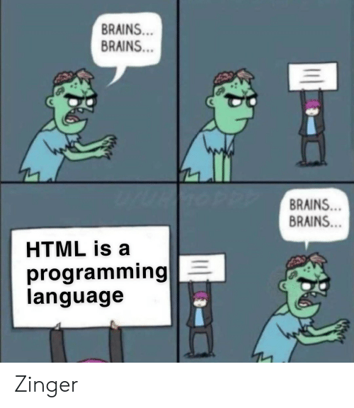 Brains, Programming, and Html: BRAINS..  BRAINS...  BRAINS...  BRAINS...  HTML is a  programming E  language Zinger