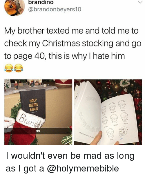 Asian, Christmas, and Meme: brandino  @brandonbeyers10  My brother texted me and told me to  check my Christmas stocking and go  to page 40, this is why I hate him  HOLY  mEme  BIBLE  ASIAN  BLACK I wouldn't even be mad as long as I got a @holymemebible