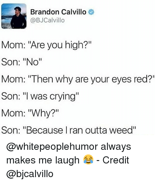 "Crying, Memes, and Weed: Brandon Calvillo  @BJCalvillo  Mom: ""Are you high?'""  Son: ""No""  Mom: ""Then why are your eyes red?""  Son: was crying""  Mom: ""Why?""  Son: ""Because I ran outta weed"" @whitepeoplehumor always makes me laugh 😂 - Credit @bjcalvillo"