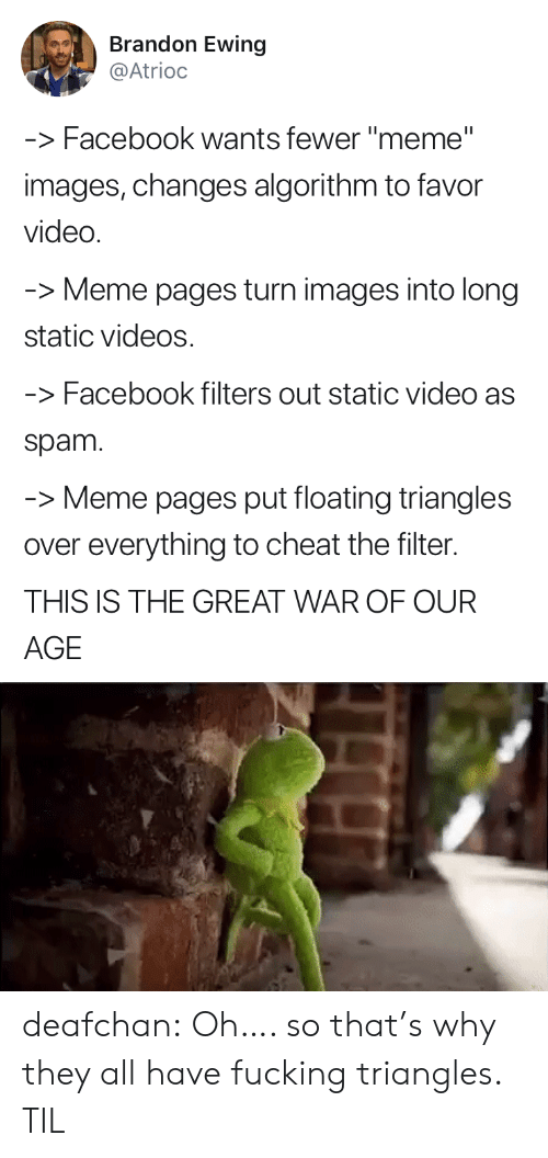 """Spam Meme: Brandon Ewing  @Atrioc  -Facebook wants fewer """"meme""""  images, changes algorithm to favor  video  Meme pages turn images into long  static videos  -Facebook filters out static video as  spam  -Meme pages put floating triangles  over everything to cheat the filter.  THIS IS THE GREAT WAR OF OUR  AGE deafchan: Oh…. so that's why they all have fucking triangles. TIL"""