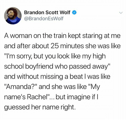 """Dank, School, and Sorry: Brandon Scott Wolf  @BrandonEsWolf  A woman on the train kept staring at me  and after about 25 minutes she was like  """"l'm sorry, but you look like my high  school boyfriend who passed away  and without missing a beat l was like  """"Amanda?"""" and she was like """"My  name's Rachel""""... but imagine if I  guessed her name right."""