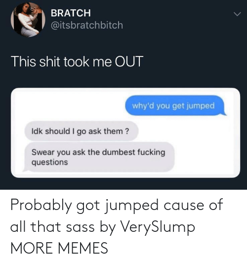 dumbest: BRATCH  @itsbratchbitch  This shit took me OUT  why'd you get jumped  Idk should I go ask them ?  Swear you ask the dumbest fucking  questions Probably got jumped cause of all that sass by VerySlump MORE MEMES