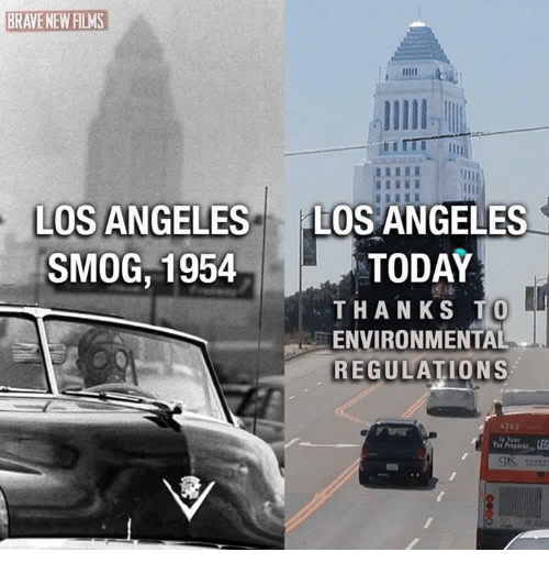 smog: BRAVENEW FILMS  LOS ANGELES  LOS ANGELES  SMOG, 1954  TODAY  THANKS TO  EENVIRONMENTAL  REGULATIONS