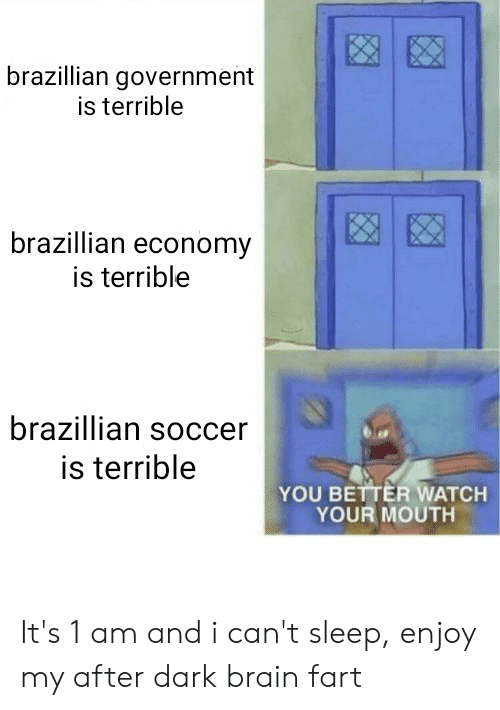 Reddit, Soccer, and Brain: brazillian government  is terrible  brazillian economy  is terrible  brazillian soccer  is terrible  YOU BETTER WATCH  YOUR MOUTH It's 1 am and i can't sleep, enjoy my after dark brain fart