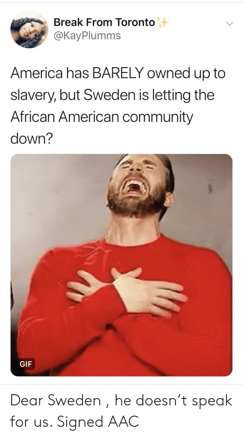 America, Community, and Gif: Break From Toronto  @KayPlumms  America has BARELY owned up to  slavery, but Sweden is letting the  African American community  down?  GIF Dear Sweden , he doesn't speak for us. Signed AAC
