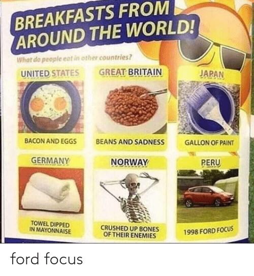 Bones, Focus, and Ford: BREAKFASTS FROM  AROUND THE WORLD!  What do people eat in other countries?  GREAT BRITAIN  JAPAN  UNITED STATES  BACON AND EGGS  BEANS AND SADNESS  GALLON OF PAINT  GERMANY  NORWAY  PERU  TOWEL DIPPED  IN MAYONNAISE  CRUSHED UP BONES  OF THEIR ENEMIES  1998 FORD FOCUS ford focus