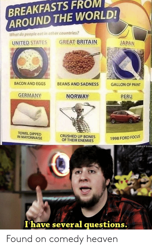 Bones, Heaven, and Focus: BREAKFASTS FROM  AROUND THE WORLD!  What do people eat in other countries?  GREAT BRITAIN  JAPAN  UNITED STATES  BACON AND EGGS  BEANS AND SADNESS  GALLON OF PAINT  GERMANY  NORWAY  PERU  TOWEL DIPPED  IN MAYONNAISE  CRUSHED UP BONES  OF THEIR ENEMIES  1998 FORD FOCUS  SKELLYSCOC  I have several questions. Found on comedy heaven