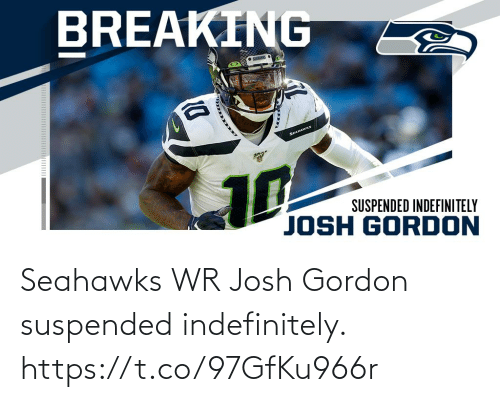 Josh: BREAKING  • SENES  SEAHAWKS  10  SUSPENDED INDEFINITELY  JOSH GORDON Seahawks WR Josh Gordon suspended indefinitely. https://t.co/97GfKu966r