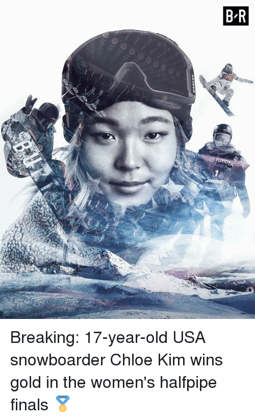 Finals, Old, and Usa: Breaking: 17-year-old USA snowboarder Chloe Kim wins gold in the women's halfpipe finals 🏅