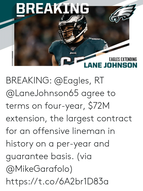 Terms: BREAKING  BAGLES  EAGLES EXTENDING  LANE JOHNSON BREAKING: @Eagles, RT @LaneJohnson65 agree to terms on four-year, $72M extension, the largest contract for an offensive lineman in history on a per-year and guarantee basis. (via @MikeGarafolo) https://t.co/6A2br1D83a