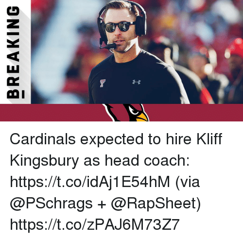 Head, Memes, and Cardinals: BREAKING Cardinals expected to hire Kliff Kingsbury as head coach: https://t.co/idAj1E54hM (via @PSchrags + @RapSheet) https://t.co/zPAJ6M73Z7