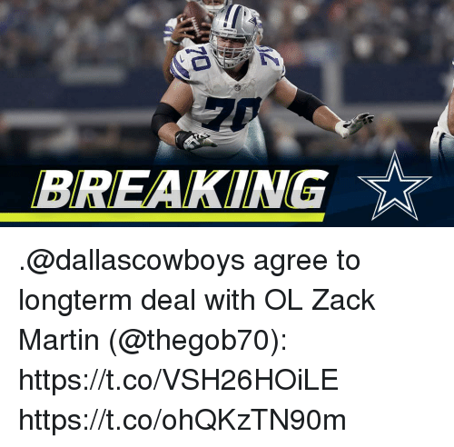 Martin, Memes, and 🤖: BREAKING .@dallascowboys agree to longterm deal with OL Zack Martin (@thegob70): https://t.co/VSH26HOiLE https://t.co/ohQKzTN90m