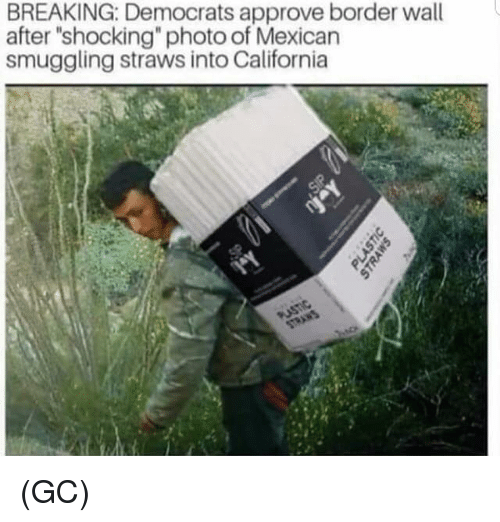 "Memes, California, and Mexican: BREAKING: Democrats approve border wall  after ""shocking"" photo of Mexican  smuggling straws into California (GC)"