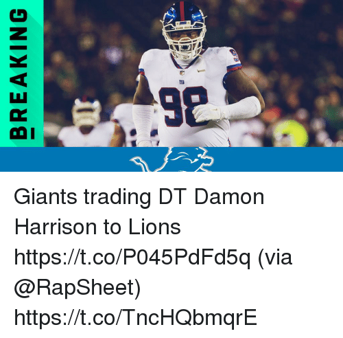 Memes, Giants, and Lions: BREAKING Giants trading DT Damon Harrison to Lions https://t.co/P045PdFd5q (via @RapSheet) https://t.co/TncHQbmqrE