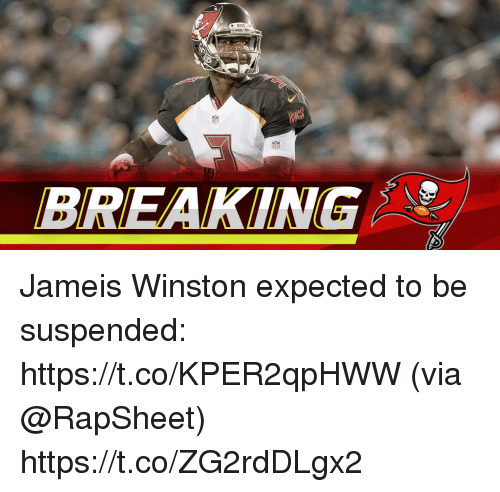 Jameis Winston, Memes, and 🤖: BREAKING Jameis Winston expected to be suspended: https://t.co/KPER2qpHWW (via @RapSheet) https://t.co/ZG2rdDLgx2