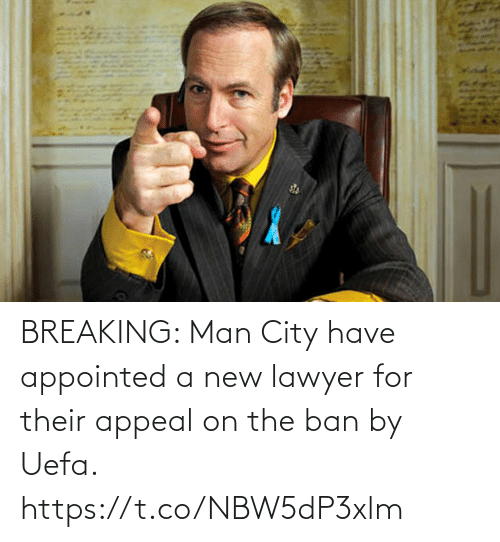 Lawyer: BREAKING: Man City have appointed a new lawyer for their appeal on the ban by Uefa. https://t.co/NBW5dP3xlm